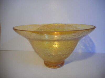 £16 • Buy Heron Yellow Iridescent Glass Footed Bowl