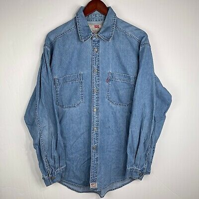 $28.95 • Buy LEVIS Red Tab Blue Denim Button Up Long Sleeve Men's Size Large
