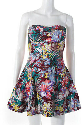 $89.99 • Buy Zimmermann Womens Off Shoulder Floral Micro Mini Dress Red Silk Size 2
