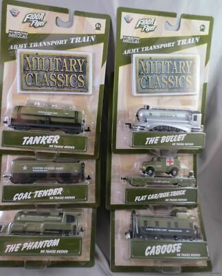 $39.99 • Buy LOT SET OF 6 ARMY MILITARY TRANSPORT TRAINS Gearbox Floor Flyer Bullet Caboose