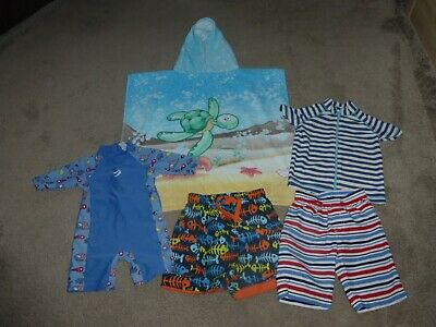 £4 • Buy Boys Swim Wear Bundle Poncho Towel,Shorts,All In One Swimsuit Top Age 2-3Years