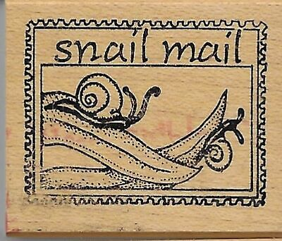 $8.75 • Buy Handprints Rubber Stamp  SNAIL MAIL  Faux Postage Post Postoid Rubber Stamp