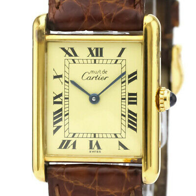 $2154 • Buy CARTIER Must Tank Vermeil Gold Plated Leater Quartz Mens Watch W1002753 BF532739