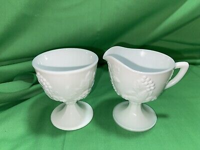 $8 • Buy Indiana Harvest Milk Glass Creamer Sugar Bowl Tray - Colony Grapes And Leaves