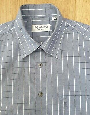 $10.42 • Buy Mens YSL Short Sleeve Shirt COTTON CHECK Embroidered - Blue SIZE M 42 Chest