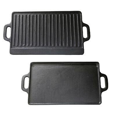 £17.99 • Buy  Cast Iron Reversible Griddle Pan Electric Gas Induction Hobs Grill Skillet