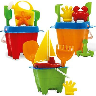 £8.99 • Buy Kids Plastic Beach Water Sand Bucket Moulds Play Toy Set Sandbox Summer Holiday