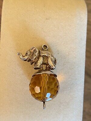 £4.50 • Buy Vintage Amber Glass And Silver Elephant Pendant 1 Inch Drop