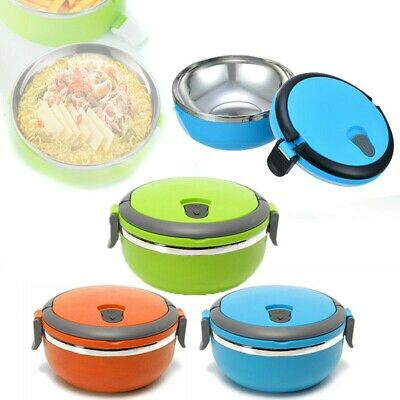 AU14.84 • Buy 700ml Stainless Thermo Insulated Thermal Food-Container Bento Round Lunch Box
