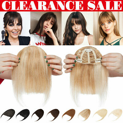 £12.63 • Buy UK Thick Bangs Clip In Front Fringe Russian Remy Human Hair Extensions Topper HT