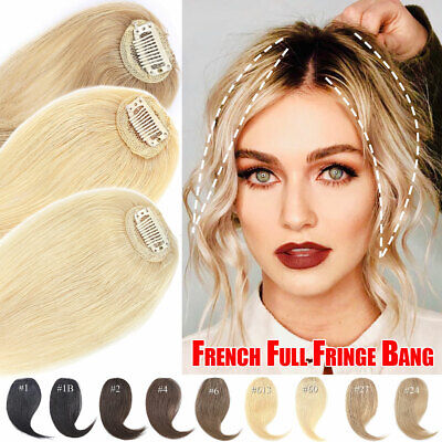 £14.21 • Buy 100% Russian Remy Clip In Fringe Bangs Human Hair Extensions Toupee One Piece TM
