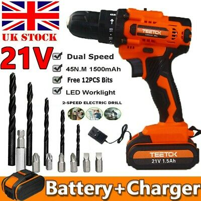 £30.99 • Buy 21V Cordless Impact Wrench Drills Driver Rechargeable Replace W/ Charger+Battery