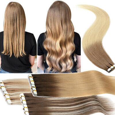 £25.41 • Buy Ombre Tape In Russian Human Hair Extensions Full Head New Color Balayage 16  18