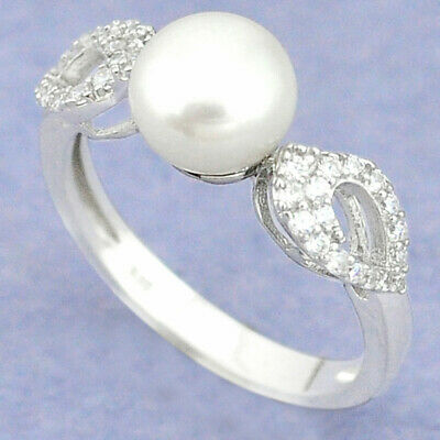 £1.62 • Buy DAILY DEALS Natural Pearl Round Topaz 925 Sterling Silver Ring Size 8.5 C25190