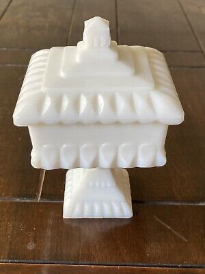 """$15 • Buy Vintage Westmoreland Milk Glass Pedestal Square Compote Candy Dish W/Lid5.5""""X4"""""""