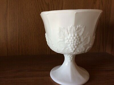 $7.49 • Buy White Milk Glass Pedestal Compote Fruit Bowl Vase Grapes And Leaves
