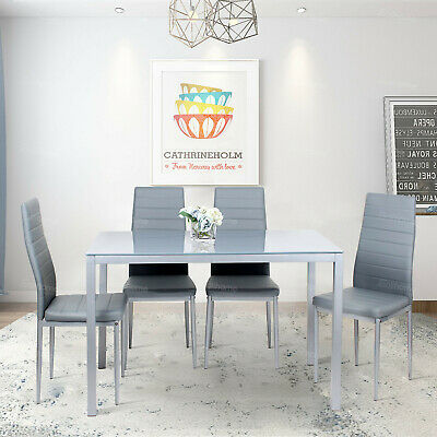 £185.99 • Buy Dining Rectangle Table+4 PU Chair Kitchen Dinning Room Restaurant Grey Sets