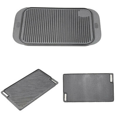 £20.95 • Buy Non Stick Cast Iron Reversible Griddle Pan Skillet Cooking Plate Hob BBQ Grill