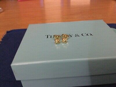 £400 • Buy Tiffany & Co 18k Yellow Gold X Signature Stud Mini Earrings And Packaging Rare