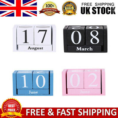 £6.89 • Buy Vintage Wooden Block Perpetual Calendar Retro Chic Rustic Any Month/Day Decor