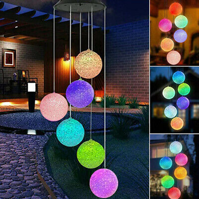 £6.99 • Buy Colour Changing Hanging Wind Chimes Solar Powered LED Ball Lights Garden Outdoor