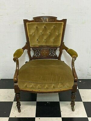 £55 • Buy Antique Victorian / Edwardian Carved Mahogany Parlour Chair Armchair - Delivery