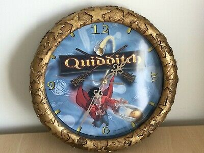 £36.99 • Buy Vintage 2001 Harry Potter Quidditch Wall Clock Gold Faux Stone V Rare Htf