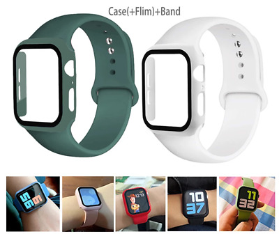 AU13.99 • Buy For Apple Watch 6 5 4 3 2 1 SE Silicone Band Strap Wristbands With Screen Case