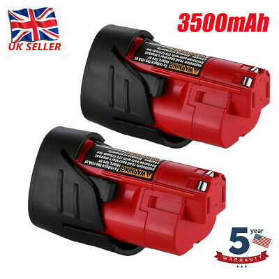 £17.99 • Buy 2 X 12v 3500mAh Lithium-ion Replacement Battery For Milwaukee M12 Cordless Drill