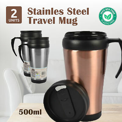 AU17.69 • Buy 2x500ml TRAVEL MUG With Handle Stainless Steel Insulated Cup Coffee Tea Interior