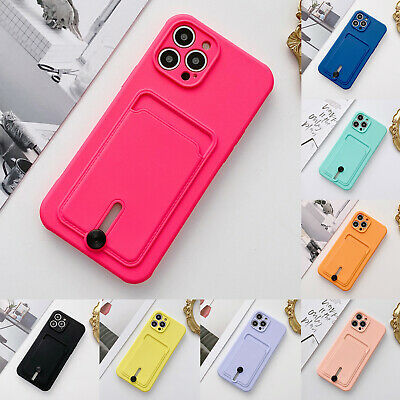 AU9.49 • Buy For IPhone 11 12 Pro Max XS XR 8 7 Silicone Rubber Wallet Card Holder Case Cover
