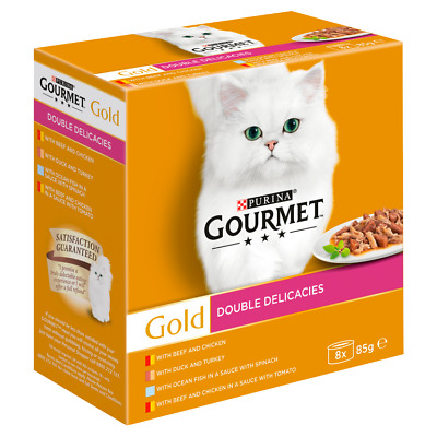 £8.90 • Buy Gourmet Gold Double Delicacies Wet Cat Food 8 X 85g FREE NEXT DAY DELIVERY