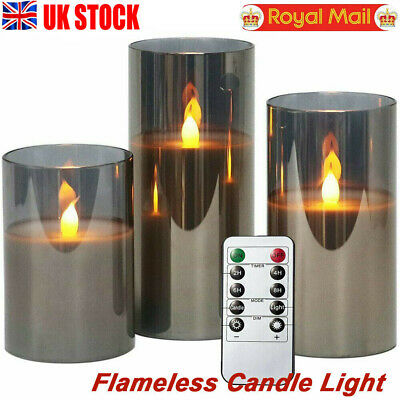 £16.19 • Buy 3X Flameless Candle Lights Battery Operated Flickering LED Pillar Candle +Remote