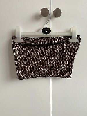 £3 • Buy NEW LOOK Gold Sequin Bandeau Top Size 8 (GOOD CONDITION)
