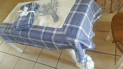 £25 • Buy French Tablecloth+4 Napkins Carre Blanc.gingham Tassles& Embroidery Blue/white