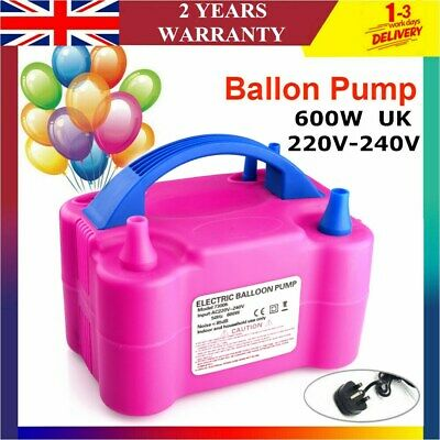 £17.58 • Buy Portable Electric Balloon Pump Party Inflator Air Blower Dual Nozzles UK Plug