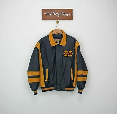 £100 • Buy Michigan Wolverines Leather Bomber NFL Jacket Yellow Navy College Size 2XL XXL