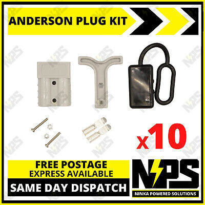 AU34.95 • Buy 10x Anderson Style Plug Kit Dust Cover T Handle 6 AWG 50 AMP 12-24v DC 4x4 Solar