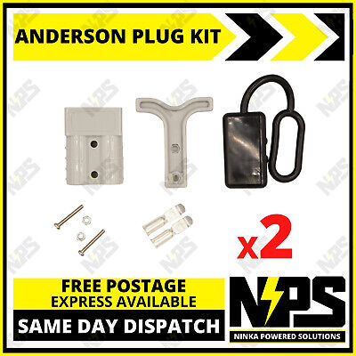 AU16.95 • Buy 2x Anderson Style Plug Kit Dust Cover T Handle 6 AWG 50 AMP 12-24v DC 4x4 Solar