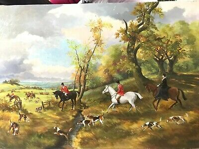 £78 • Buy G. L. Taylor, British Canadian, Oil On BoardEnglish Hunt Scene Antique Painting