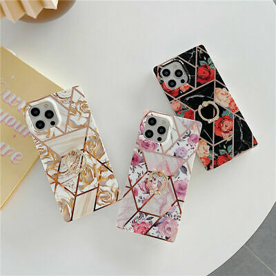 AU14.25 • Buy Luxury Floral Square Case For IPhone 11 12 Pro Max 7 8 Plus XR With Ring Holder