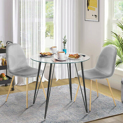 AU189.95 • Buy Dining Table Chairs 3 Set Tempered Glass Grey Velvet Dining Kitchen Furniture