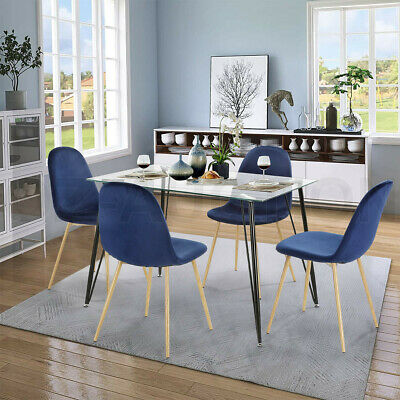 AU289.95 • Buy 5 Piece Dining Table And Chairs Set Tempered Glass Table Blue Velvet Chairs