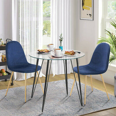 AU189.95 • Buy Dining Table Chairs 3 Set Tempered Glass Blue Velvet Dining Kitchen Furniture