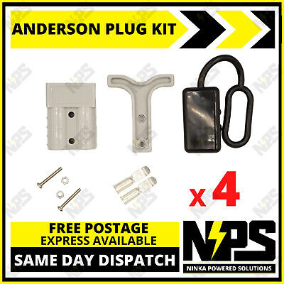 AU21.95 • Buy 4x Anderson Style Plug Kit Dust Cover T Handle 6 AWG 50 AMP 12-24v DC 4x4 Solar