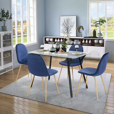 AU299.95 • Buy Dining Table Chairs 5 Set Tempered Glass Bule Velvet Dining Kitchen Furniture