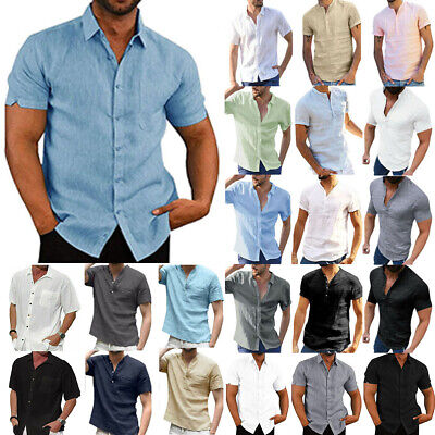 £9.09 • Buy Mens Solid Short Sleeve Summer T-Shirt Tunic Casual Loose Button Tee Blouse Tops