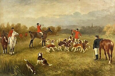 £1200 • Buy Large Antique English Signed Oil Painting - Fox Hunting Scene Horses & Hounds