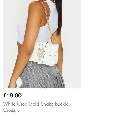 £16 • Buy Pretty Little Thing White Snake Detail Shoulder Bag With Chain Croc Print