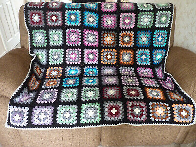 £37.99 • Buy Handmade Retro Granny Square Blanket 56 X 56 Inches Campervan Bed Settee Throw